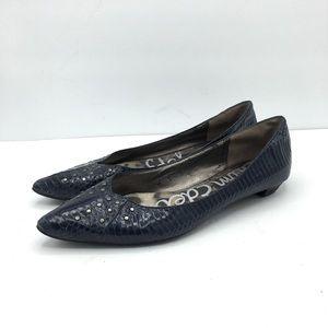 Sam Edelman Irina Blue Snakeskin Pointed Toe Flats Size 8.5M